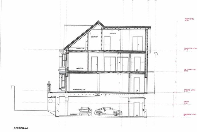 Section A-A of Polkirt Hill, Mevagissey, St. Austell PL26