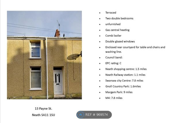 2 bed terraced house to rent in Payne Street, Neath SA11