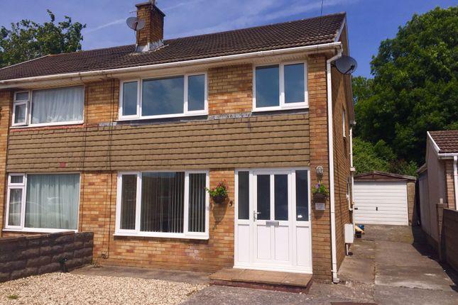 Thumbnail Semi-detached house for sale in Llwyn On, North Cornelly, Bridgend