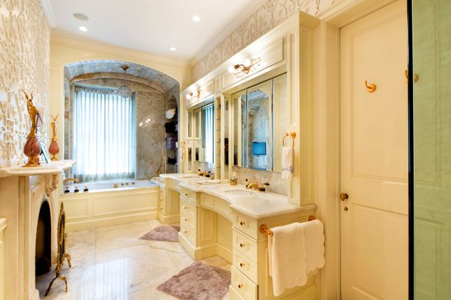 Fully Fitted Master Bathroom With Marble Flooring And Built In Ceiling Sound System