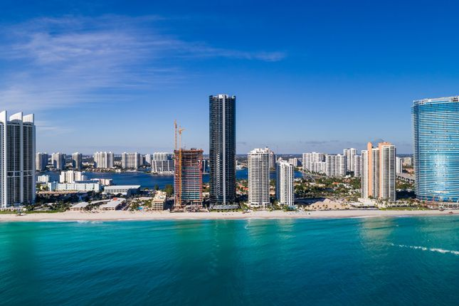 Elevation View Of Porsche Design Tower & Residences By Armani/Casa In Miami From The Sea