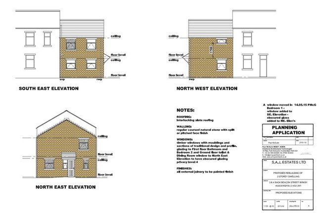 Front Plan of Back Beacon Street, Birkby, Huddersfield HD2