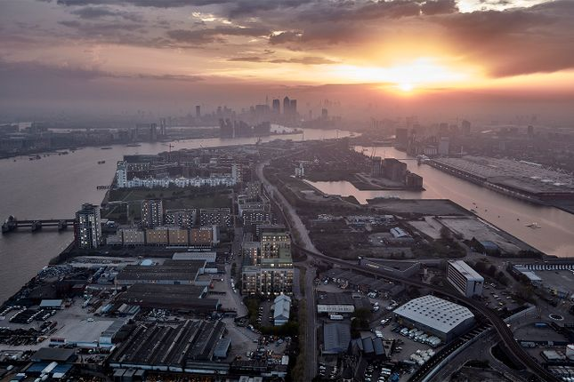 Aerial of North Woolwich Road, London E16