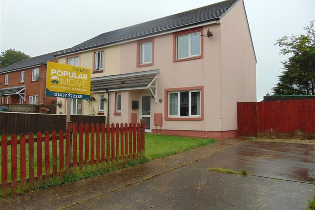 Thumbnail Semi-detached house to rent in Rose Avenue, Merlins Bridge, Haverfordwest