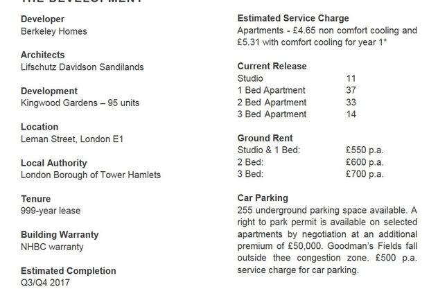 Fact Sheet of Goodman Fields, London E1