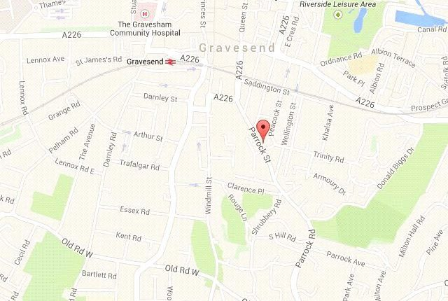 Location of Parrock Street, Gravesend, Kent DA12