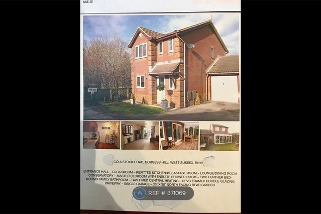 Thumbnail Detached house to rent in Coulstock Road, Burgess Hill