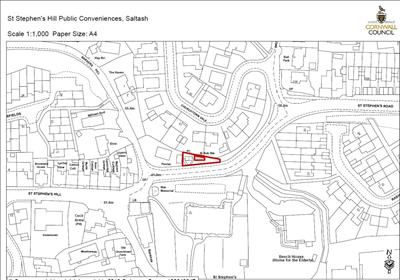 Site Plan of Former Public Conveniences, St Stephens Hill, Saltash, Cornwall PL12