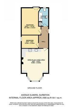 Floor Plan Hjc - Flat 3, 4 Avenue Elmers.Jpg